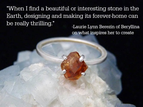 """Belvidere"" ring: natural hessonite garnet crystal mined in Vermont, recycled Argentium sterling silver by Beryllina"
