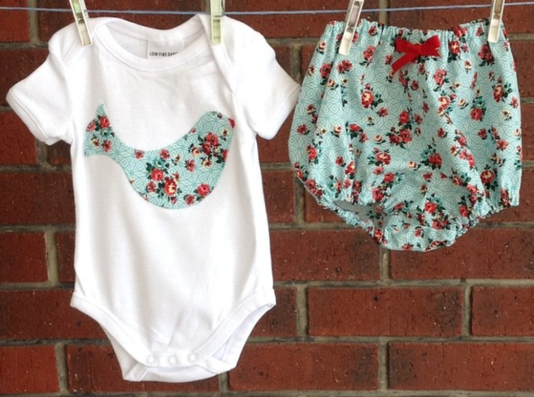 Bohemian onesie and bloomers by Two Black Rabbits