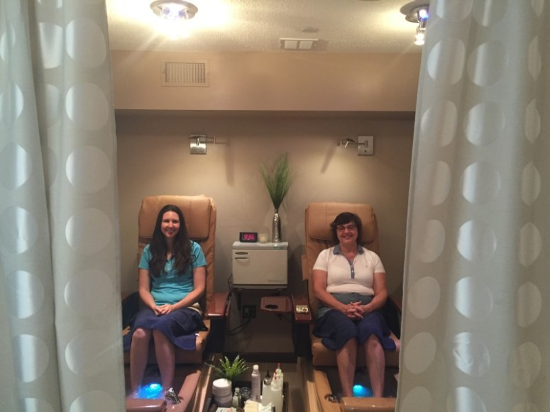 Mother and daughter getting their nails done together at Sway Spa in Boston