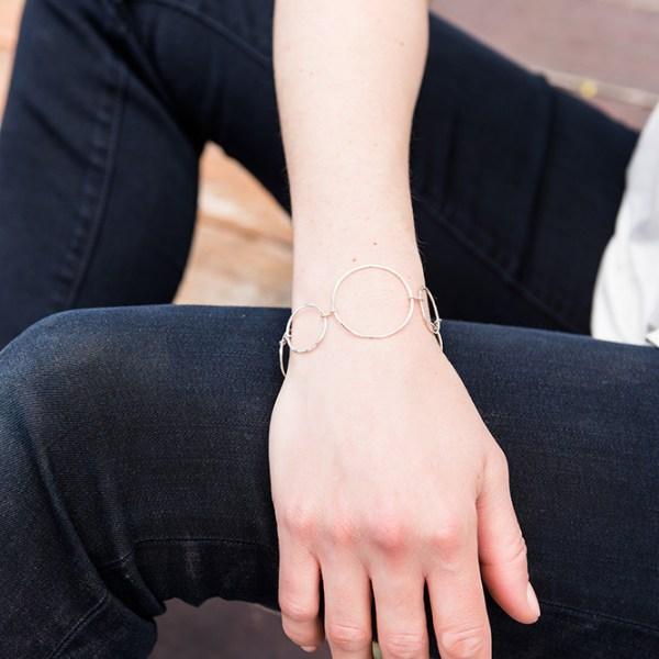Sterling silver focal hoop bracelet
