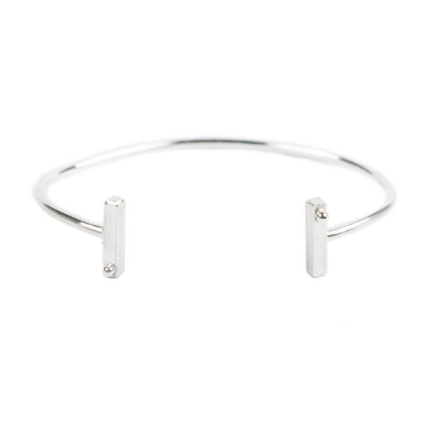 Double bar open bangle cuff bracelet