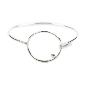 Sterling silver circle bangle clasp bracelet