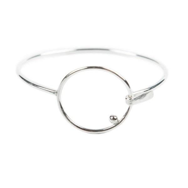 Sterling silver circle bangle clasp bracelet