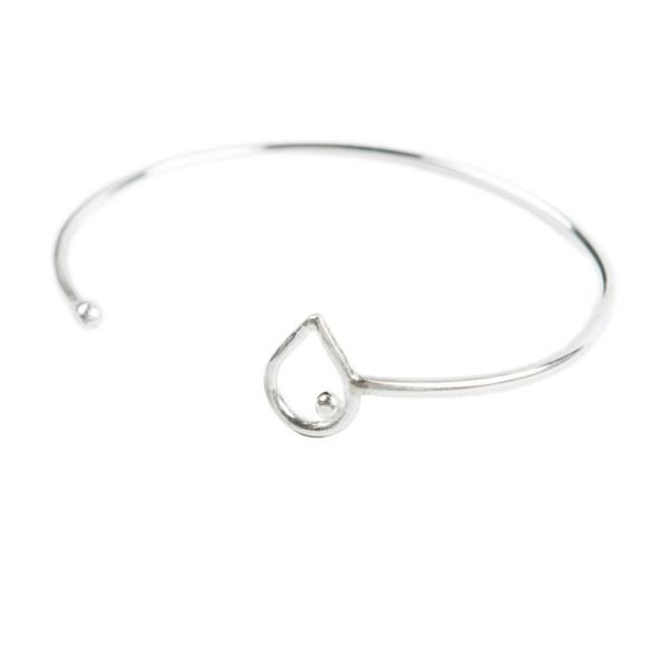 Sterling silver eco-friendly open bangle bracelet by Linkouture
