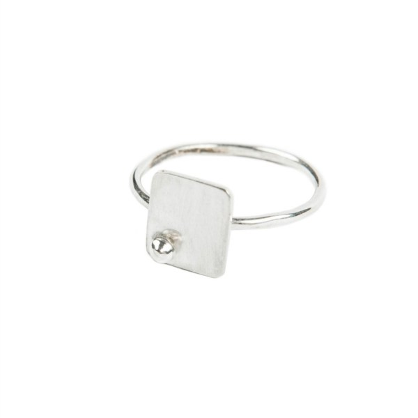 rounded rectangular sterling silver ring