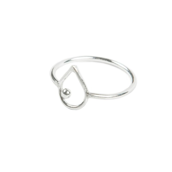 sterling silver minimalist teardrop ring