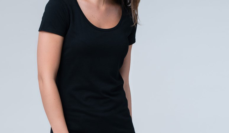 Black PACT organic scoop neck shirt for everyday wear