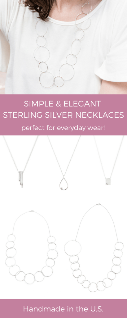 Simple elegant sterling silver necklaces by Linkouture