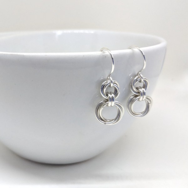 mobius sterling silver spiral dangle earrings