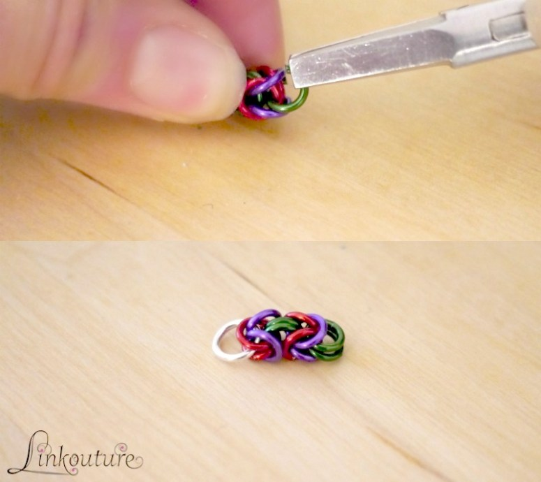 hands making Byzantine chainmaille weave