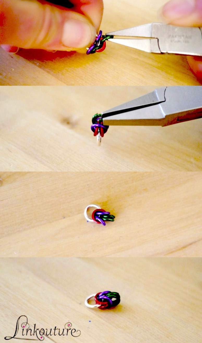 hands and pliers with multi-colored jump rings