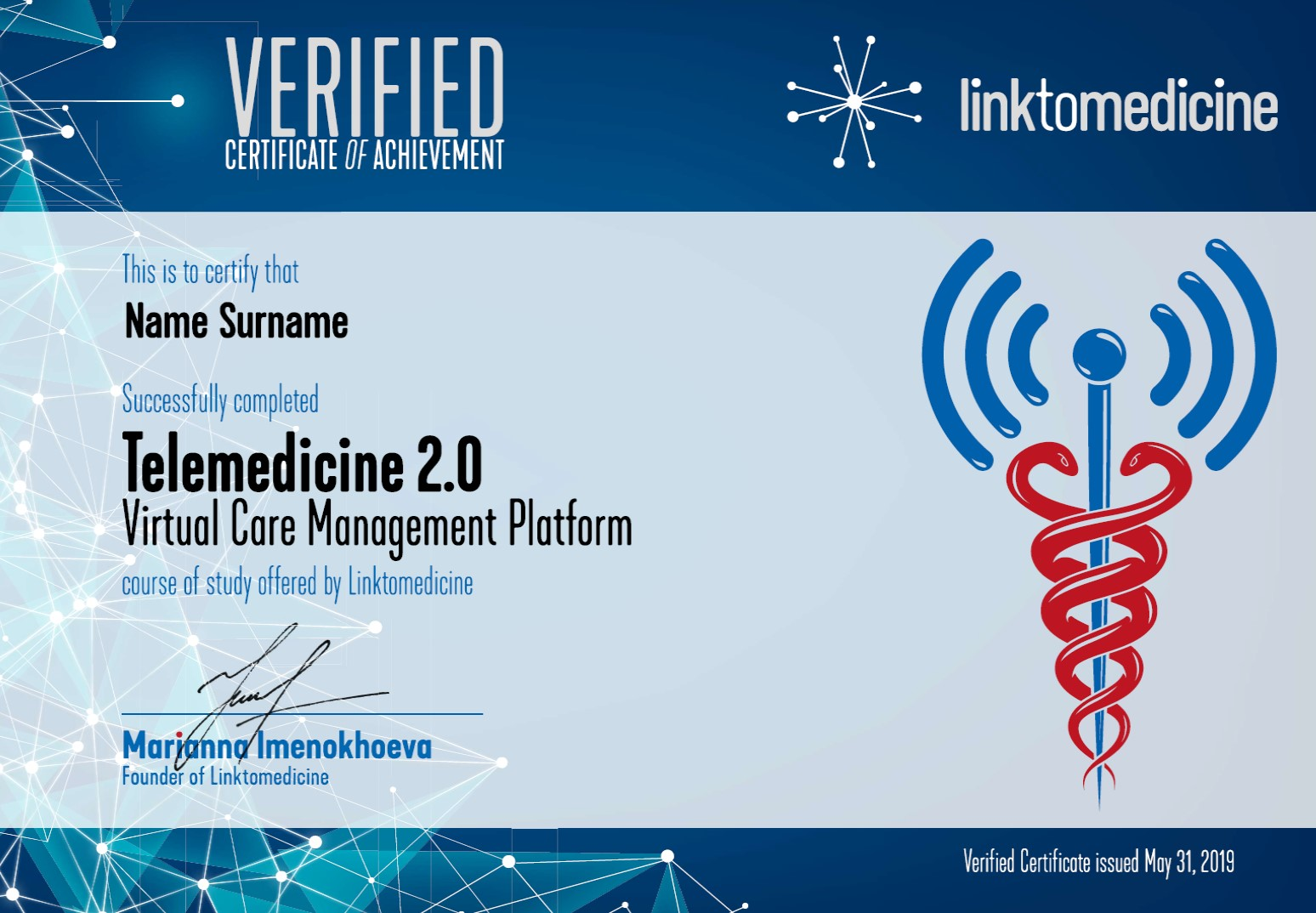 Online course certificate
