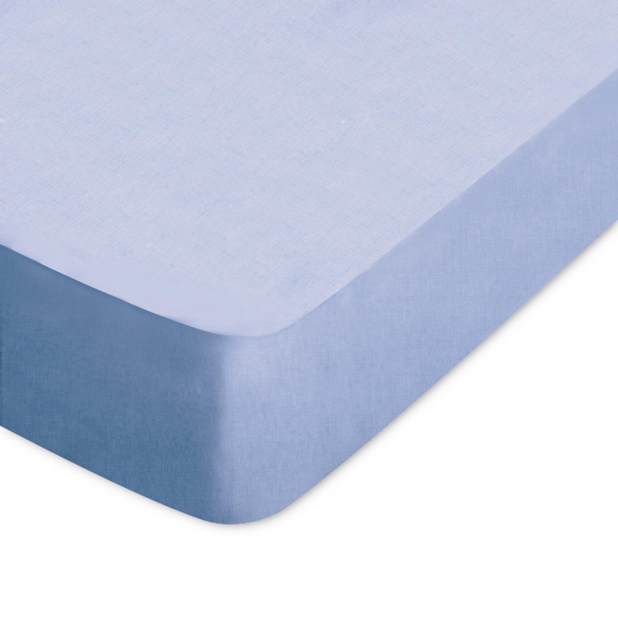 Drap Housse 70x190cm Bonnet 40cm Uni Pur Coton Alto Bleu Belle Ile Linnea Linge De Maison Et