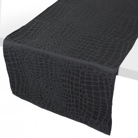 chemin de table 45x150 cm jacquard 100 polyester lounge noir