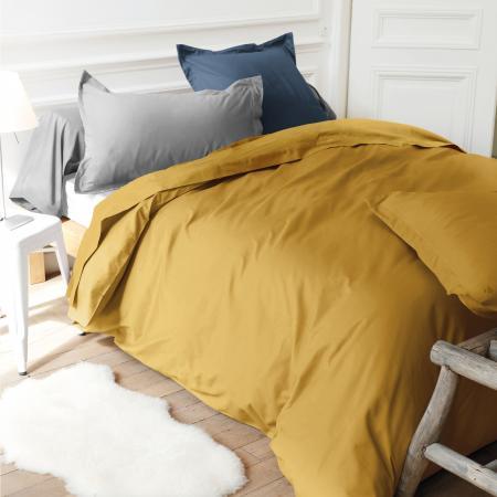 Drap Housse 120x190cm Bonnet 40cm Uni Pur Coton Alto Jaune Bourdon Linnea Linge De Maison Et
