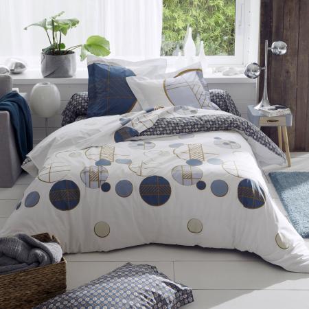 Drap Housse Imprime 120x190 Cm Percale De Coton Romeo Bleu Baltique Bonnet 30 Cm Linnea Linge De Maison Et