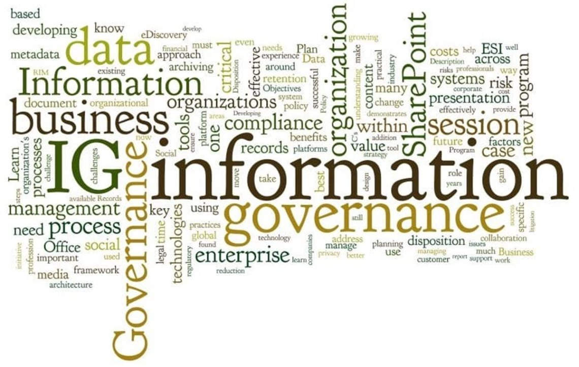 An information governance tag cloud with words such as organisation, business, information, data, enterprise, compliance, records