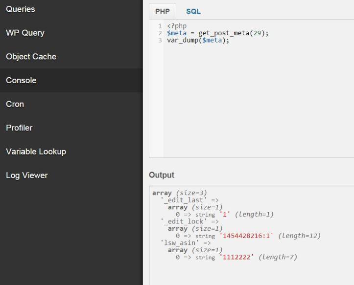 screenshot of debug bar console, wordpress plugin for developers
