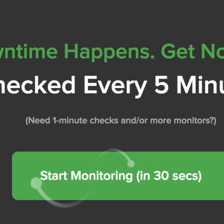 Screen capture of the UptimeRobot site