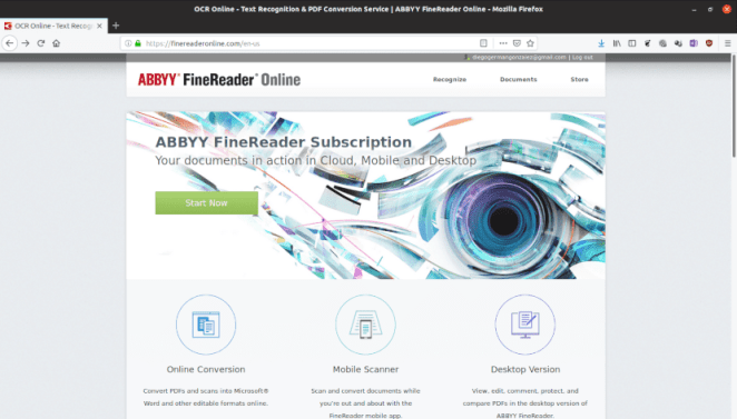 Captura de tela do site Abby Finereader.