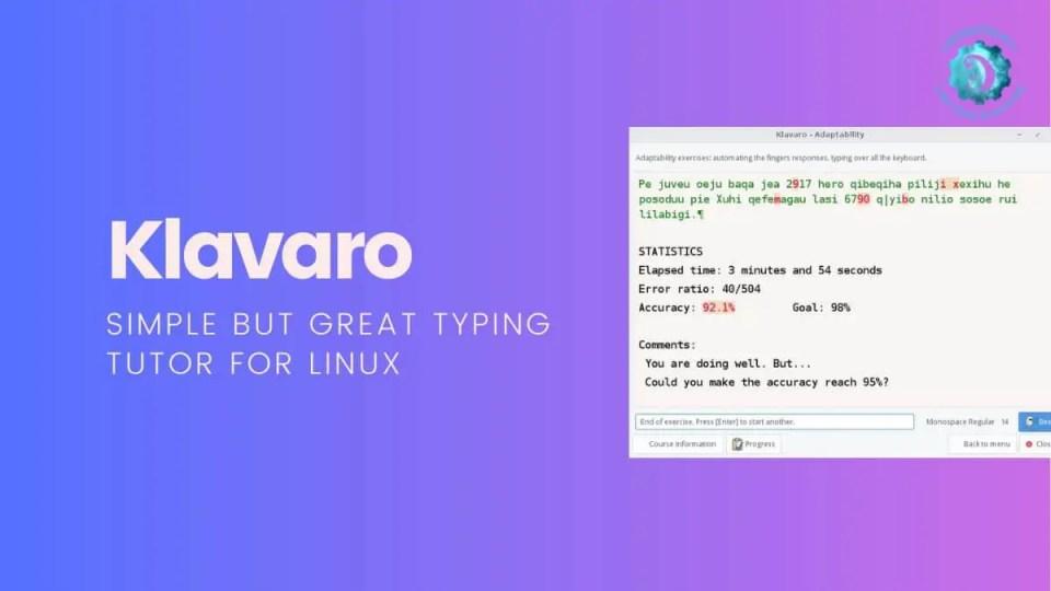 Klavaro typing tutor for linux