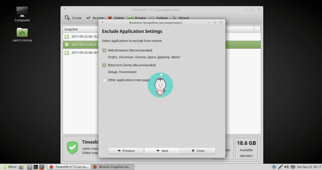 timeshift exclude application setting