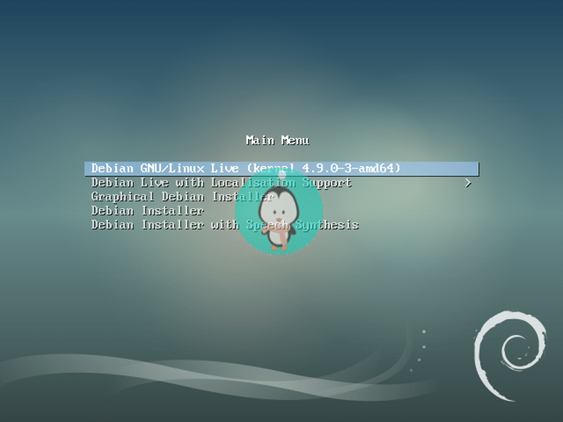 debian boot screen