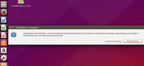Restart ubuntu live disk to continue using Ubuntu