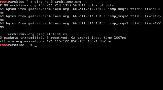arch linux check internet connection