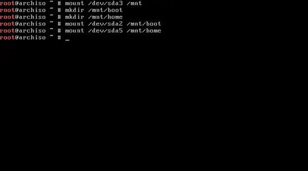 arch linux mount home partition