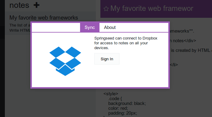 authenticate dropbox to sync laverna notes
