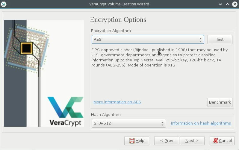 choose file container encryption algorithm and has algorithm