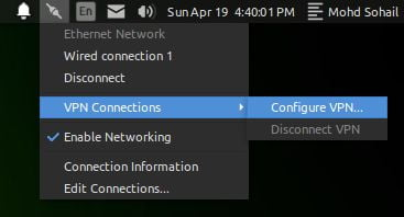configure VPN from linux network manager