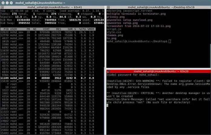 create multiple terminals in terminator window