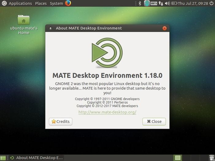 default ubuntu mate 17.04 desktop screen