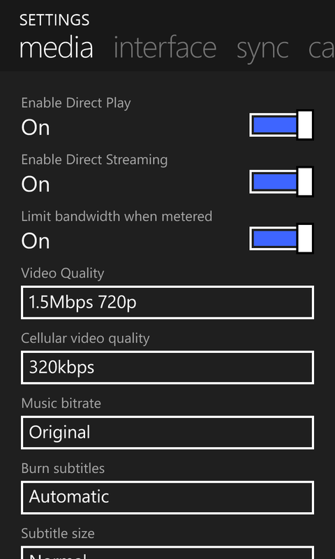edit plex media client settings