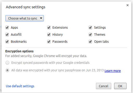 google chrome advanced sync