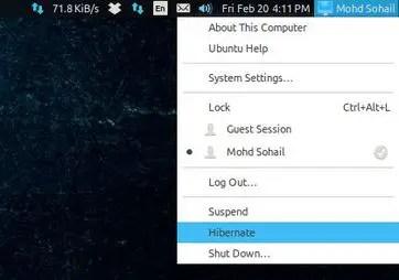 hibernate in linux ubuntu