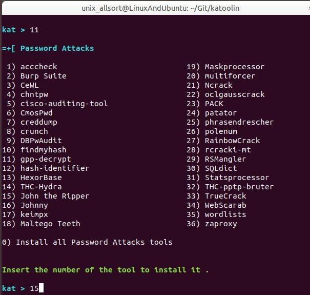 katoolin password attacks menu