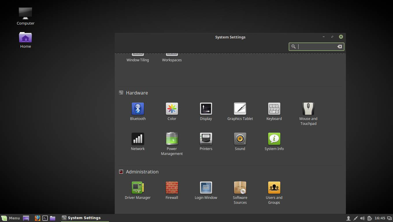 linux mint settings manager