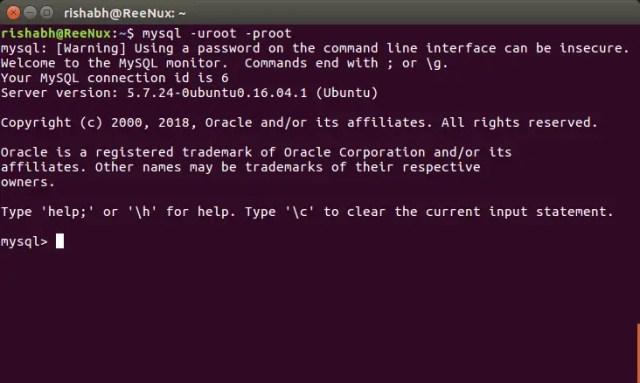 login to mysql cli ubuntu