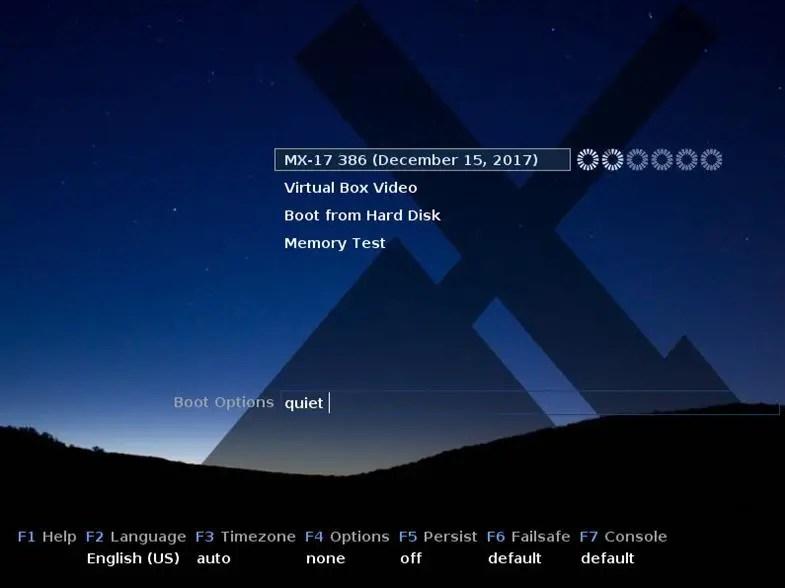 mx linux boot menu