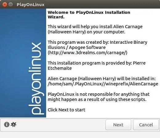 playonlinux game installation wizard