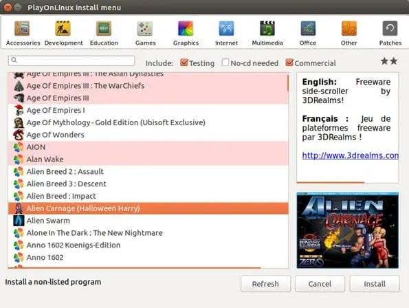 playonlinux install menu