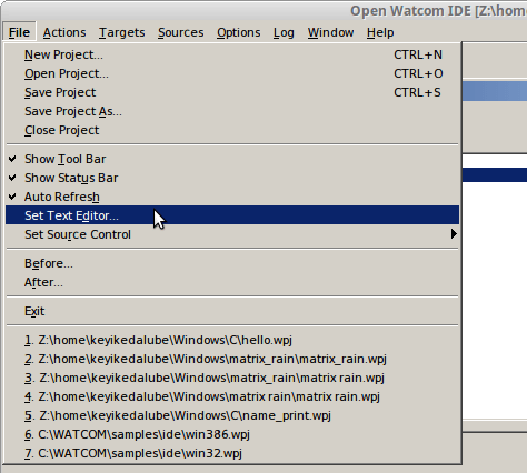 set text editor mode in openwatcom