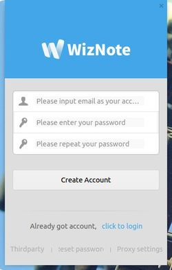 sign up or sign in wiznote