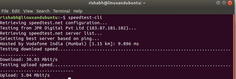 test internet speed from terminal