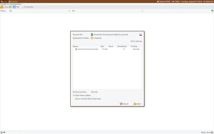 transmission linux torrent clients
