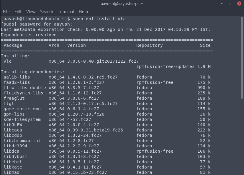 update fedora system dnf