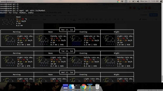 weather app wittr in terminal through wget